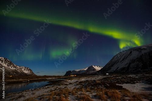 Fotobehang Nachtblauw Northern Lights (Aurora Borealis) over Lofoten, Norway.