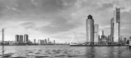 Aluminium Rotterdam City Landscape, black-and-white panorama - view on Erasmus Bridge and district Feijenoord city of Rotterdam, The Netherlands.