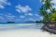 White coral sand on а tropical beach. Praslin island, Seychelles - 196410477