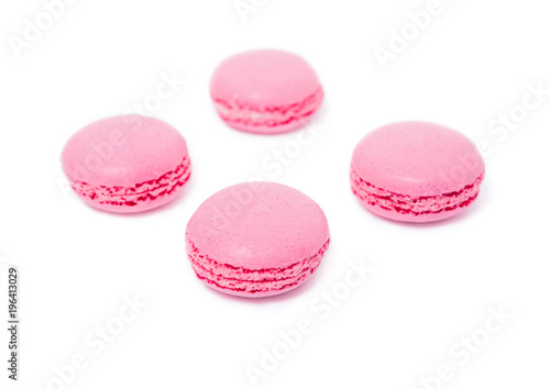 Pink strawberry traditional french dessert macarons Poster