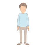 light color caricature faceless full body young man with clothing and hairstyle vector illustration - 196413402