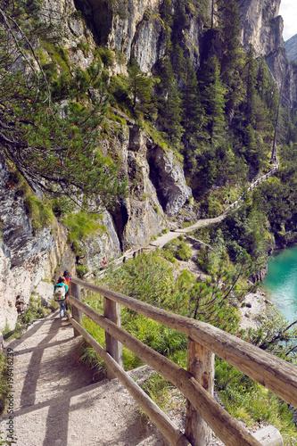 Foto op Canvas Cappuccino Walk around the lake Braies lake