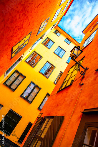 Fotobehang Stockholm Yellow houses in old town of Stockholm