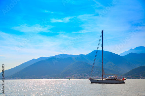 Aluminium Blauw Vew of the Kotor Bay with yacht
