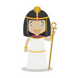 Cleopatra cartoon character. Vector Illustration. Kids History Collection. - 196419400