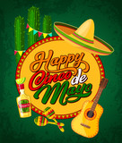 Cinco de Mayo banner with fiesta party symbols