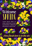 Welcome Spring Season greeting banner with flower