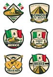 Cinco de Mayo Mexican holiday retro sketch icons