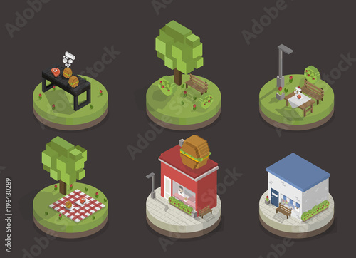 Sticker Illustration set of pixelated park and city models