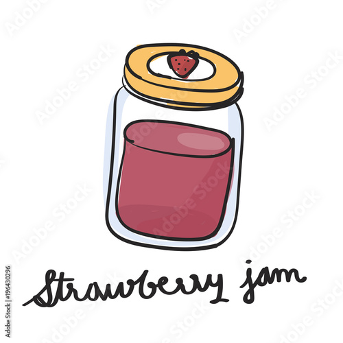 Wall mural Illustration drawing style of strawberry jam