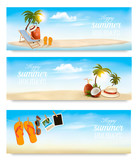 Tropical island with palms, a beach chair and a suitcase. Vacation vector banners. Vector. - 196433038