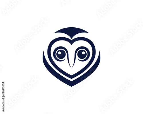 Tuinposter Uilen cartoon owl bird illustration logo template
