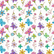 butterfly with flower seamless pattern - 196435057