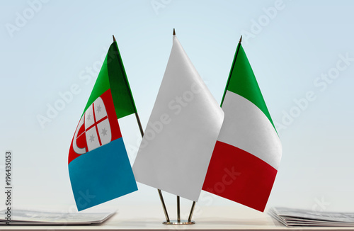 Fotobehang Liguria Flags of Liguria and Italy with a white flag in the middle