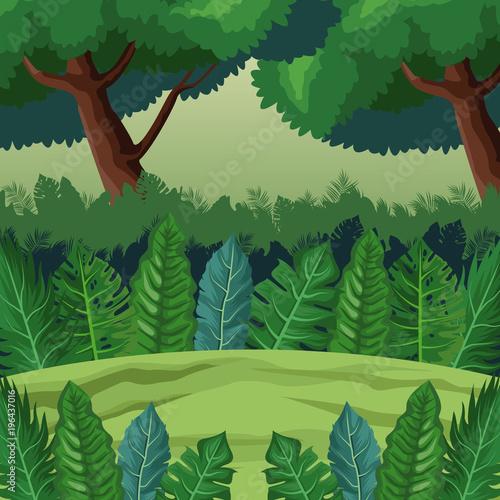 Dżungli krajobrazowej kreskówki wektorowego ilustracyjnego graficznego projekta wektorowy ilustracyjny graficzny projekt