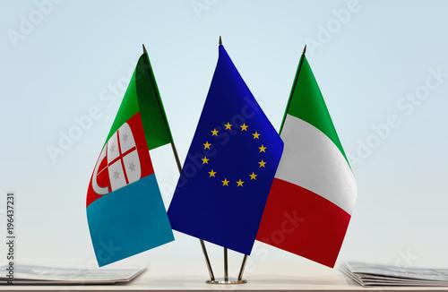 Fotobehang Liguria Flags of Liguria European Union and Italy