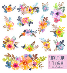 Colorful floral collection with flowers, leaves and berries