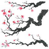 Sakura tree in Japanese painting style. Traditional Beautiful watercolor hand drawn illustration