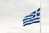 Greek flag in the wind - 196443621
