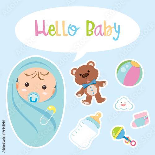 Fototapeta Poster design for baby boy