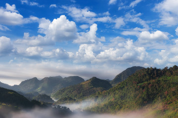 Mountain with mist.