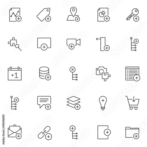 Add Elements Outline Icons Set Linear Style Symbols Collection