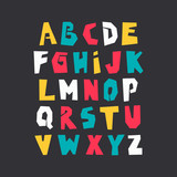 Vector uppercase colorful modern alphabet. Cut out paper font on black background.