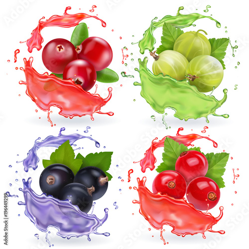 Realistic berries in juices splash set. Gooseberry black currant cranberry and red currant collection - 196449299