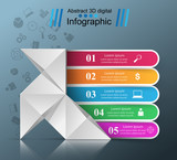 Five items - origami style infographic. Vector eps 10
