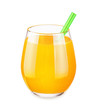Glass with orange juice isolated on white background.