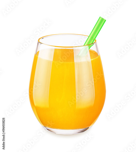 Foto op Canvas Sap Glass with orange juice isolated on white background.