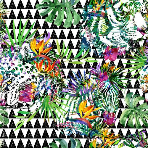 wild jungle nature watercolor seamless pattern