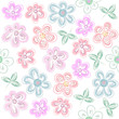Vector Pastel Flower Pattern. Drawing Hand, Delicate tone Decorative Stylized Flowers. - 196451877