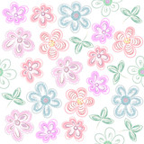 Vector Pastel Flower Pattern. Drawing Hand, Delicate tone Decorative Stylized Flowers.