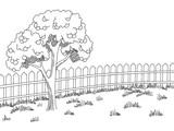 Garden graphic black white landscape apple tree sketch illustration vector - 196453445