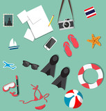 Summer beach holiday accessories collage set