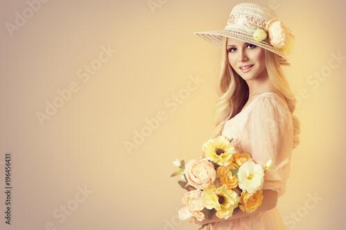 Beauty Model in Fashion Broad Brim Hat, Peony Flowers, Beautiful Woman Retro Portrait on Beige Background