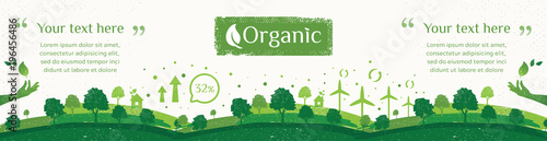 Vector of nature, ecology, organic, environment banners. Billboard or web banner of Clean green environment with grunge style