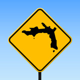 Peter Island map on road sign. Square poster with Peter Island island map on yellow rhomb road sign. Vector illustration. - 196460016