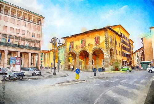 Fototapeta Italian life in watercolor style, Livorno