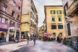 Italian life in watercolor style, Pisa
