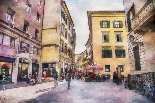 Fototapeta Italian life in watercolor style, Pisa