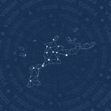 Virgin Gorda network, constellation style island map. Powerful space style, modern design. Virgin Gorda network map for infographics or presentation. - 196461610