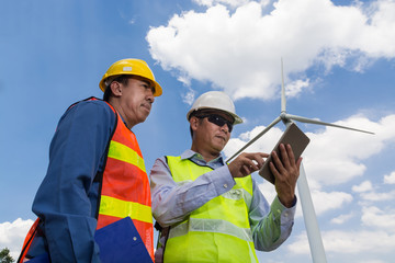 Engineer and Architect working at Wind Turbine Power Generator