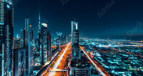 Dubai Cityscape Night Long Exposure