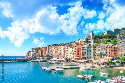 Fotobehang Liguria Colorful picturesque harbour of Porto Venere, Italian Riviera, Liguria, Italy