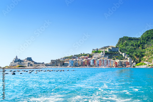 Fotobehang Liguria Picturesque views of town Portovenere from sea, Italy