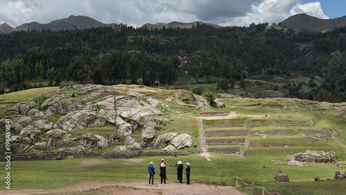 Foto op Aluminium Grijze traf. Saqsaywaman temple inca culture. Peru