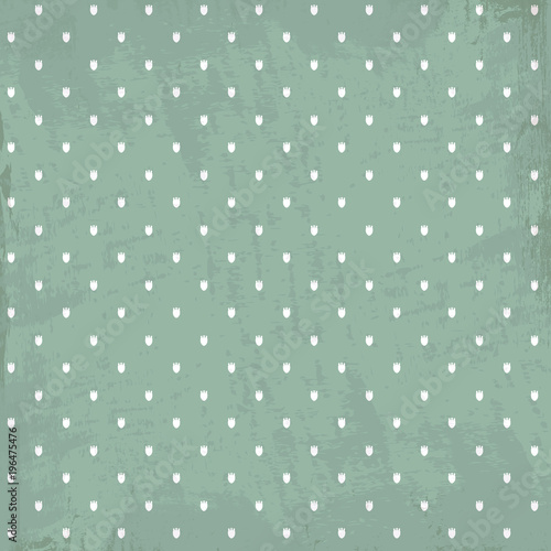 Pale pastel color vector seamless pattern whith light tulips on grunge background. Texture for wrapping paper, scrapbooking design - 196475476