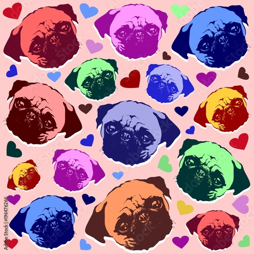 Plexiglas Pop Art Pug Puppy Dog Love Hearts Pattern